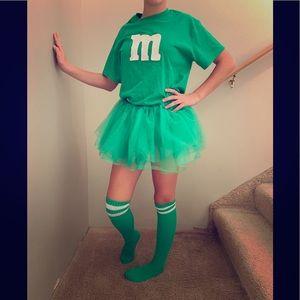 Other - Green M&M girls costume. Shirt, skirt and socks.